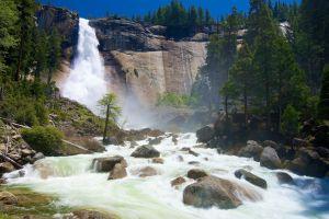 nature rocks waterfall cliff yosemite national park river