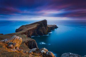 nature sea coast horizon scotland landscape clouds blue sunset cliff skye lighthouse