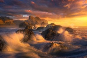 nature sea sunset rock oregon clouds mist coast beach landscape waves
