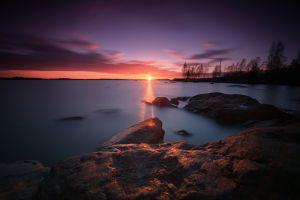 nature sunlight water landscape purple