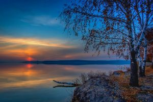 nature sunset birch leaves landscape clouds lake trees russia fall calm reflection