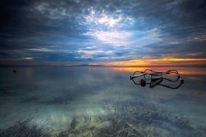 nature sunset boat landscape lake