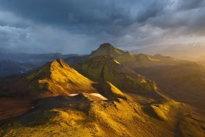 nature sunset iceland mountains gold landscape river clouds