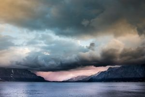 nature water landscape mountains clouds