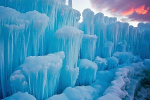 nature winter clouds sunset snow icicle landscape ice iceberg blue frost
