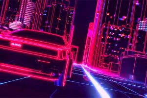 neon car 1980s delorean synthwave new retro wave retro games