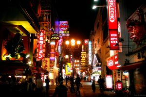 neon lights street neon people japan