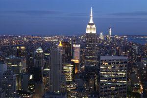 new york city manhattan city city lights cityscape