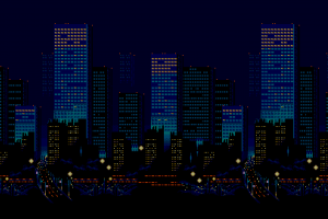 night 16-bit skyline streets of rage pixel art urban city sega