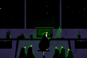 night artwork tux digitalocean linux computer penguins