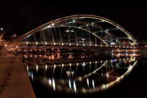 night bridge city city lights river
