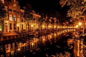night canal street amsterdam street light