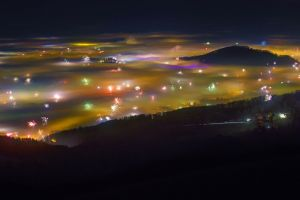 night china fireworks clouds new year city lights landscape valley