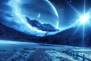 night fence pine trees snow path photo manipulation forest moon landscape mist planet stars nature starry night