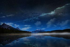 night lake mountains landscape photo manipulation