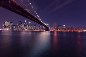 night lights sky water cityscape bridge city