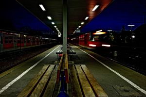 night photography railway train