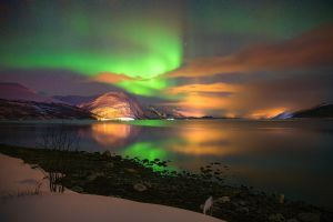 night sky landscape nature aurorae