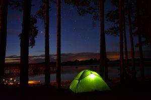 night tent outdoors lake nature