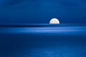 night water nature moon sea