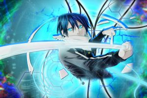 noragami anime blue hair blue eyes