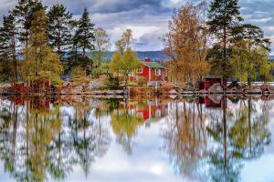 nordic landscapes nature landscape trees cabin island lake