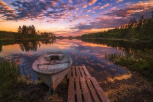 norway lake boat landscape sunset chains nature clouds sky spring reflection trees