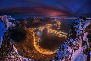 norway night stars mountains