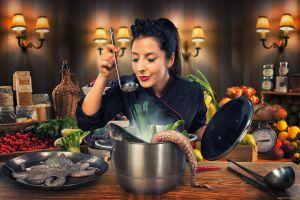 octopus cooking kitchen women