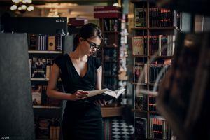 oktyabrina maximova black dress dress glasses women books women with glasses brunette maxim guselnikov red lipstick library