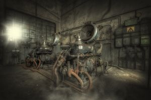 old industrial technology metal machine