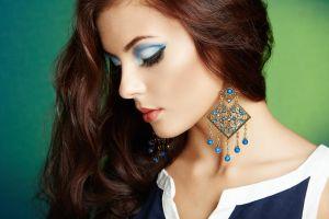 oleg gekman women eyeliner long hair redhead profile eyeshadow model