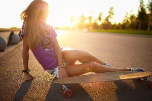 on the floor blonde women outdoors women women with glasses sunset skateboard sunlight outdoors sitting road model