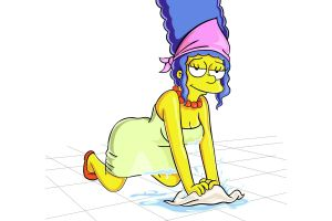 on the floor blue hair the simpsons white background cartoon simple background marge simpson