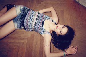 on the floor women tank top long hair lying down brunette model jean shorts looking at viewer wooden surface open mouth