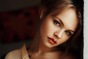 open mouth anastasia scheglova looking at viewer women face model portrait red lipstick blonde georgy chernyadyev long hair blue eyes tattoo