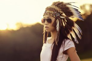 open mouth asian brunette white clothing sunglasses feathers