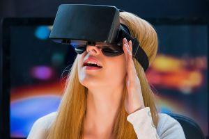 open mouth blonde virtual reality pink lipstick technology women