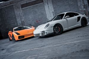 orange cars white cars porsche
