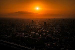 orange city cityscape sunset