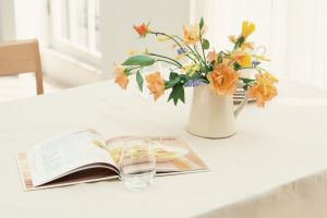 orange flowers indoors drinking glass plants table
