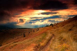 orange sky clouds dry grass landscape mountains