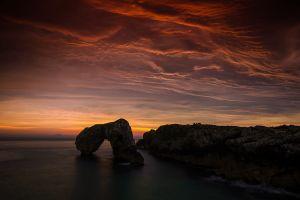 orange sunset nature clouds sea coast landscape