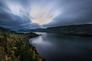 oregon fall trees landscape forest clouds river field hills nature