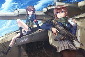 original characters anime anime girls weapon machine gun
