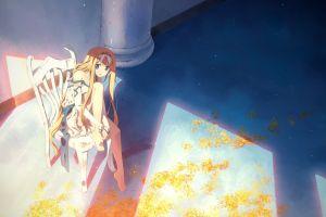original characters anime girls blonde yuuki tatsuya blue eyes gloves chair anime long hair dress