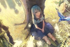original characters cyan hair trees anime girls blue hair birds