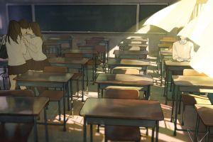 original characters school uniform anime classroom