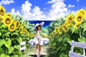 original characters sunflowers anime girls