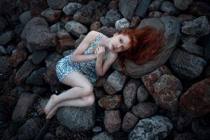 outdoors model women rock redhead